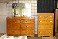 DRESSER WITH MIRROR & CHEST OF DRAWERS