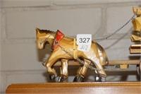 """WOODEN HORSES & CART 16"""""""