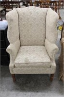 UPHOLSTERED WING BACK CHAIR (DIRTY)