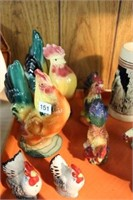 Group of rooster figures etc.