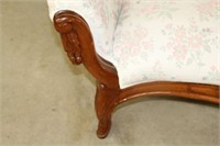 """Carved settee.  Upholstery worn.  73"""""""