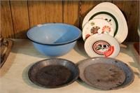 Graniteware bowl, plates, etc.