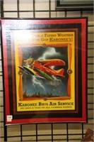 "Framed kahonee bros. air service sign.  16"" x 12"""