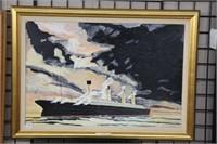 """N.C. Gerry Hubris.  Oil on board painting.  35"""" x"""