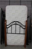 Single boxspring and mattress, headboard and