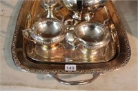 Silverplate tray, pitcher, candle holders etc.