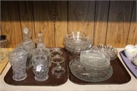 2 trays of glass serving dishes