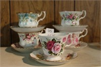5 Royal Albert cups and saucers