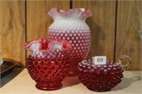 3 pieces of cranberry hobnail glass
