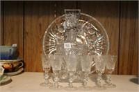 "11"" pinwheel decanter.  11"" serving plate &"