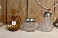 Amber cruet, syrup pitcher etc