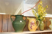 """Pottery vases and pitchers.  9"""", 12"""""""