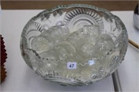 """Punch bowl (15"""") and 18 cups"""