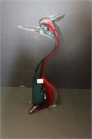 """Art glass bird ornament.  17"""""""