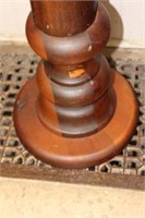 """Early wooden pedestal with candle holder.  49"""""""