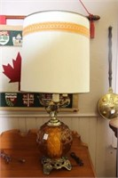 """Amber glass table lamp.  36"""""""