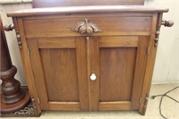 Early carved wash stand with towel bars.  34""