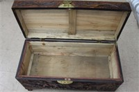"""Wooden carved chest.  27"""""""