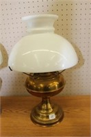 """2 brass oil table lamps.  16"""", 17"""""""