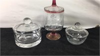 Lot of 3 candy dishes