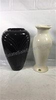"Pair of  vases black one is 15"" tall white"