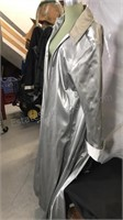 Ladies Redballs on Fire  XL silver raincoat Made