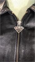 Superman DC Comics black zip front leather jacket
