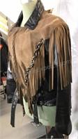 Black Leather and Suede Fringe Motorcycle Jacket