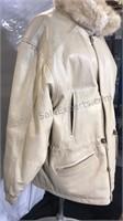 Fur and Leather reversible coat zipper / snap