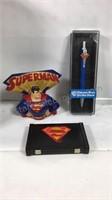 Superman waste bin, lamp, pen, coin bank clock