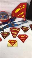 Superman duffel bag, clock, patches, hat