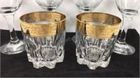 4 Gold Rimmed Wine Glasses - 2 Rock Glasses