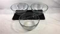 Group of three glass kitchen bowls