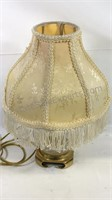"""13"""" tall glass and brass lamp"""