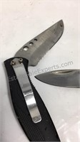 Pair of stainless steel pocket knives made in