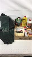 Welding gloves, duck tape, chrome polish, lighter