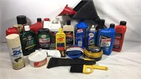 Group of car care supplies