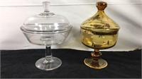 Lot of 2 glass candy dishes