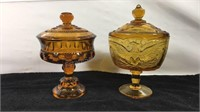 Pair of amber glass candy dishes