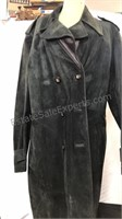 Black leather / suede button up reversible long