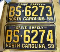 Matched Set MINT 1959 License Plates