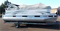 2007 Aurora by Manitou Pontoon w/2003 Wesco Trailer (BP, single-axle), 18', 9-Person Cap/1270 lbs, w/Evinrude E-Tec 60 Outboard Motor, Minn Kota Trolling Motor, Cover, Sun Shade, Life Jackets & Anchors.  Has not been in water for several years (view 1)