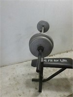 DP Fit for Life Workout Bench w/ Weight Bar & Lbs