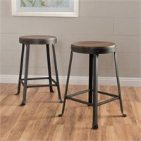 SET OF 2 WOOD COUNTER STOOL(NOT ASSEMBLED)