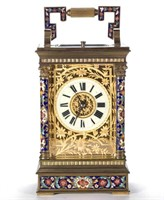 French champleve and gilt brass carriage clock