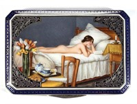 Fine French enameled and gilt-silver cigarette case, one of numerous examples from the Litle Collection