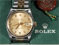 Rolex Datejust stainless, 18K gold, and diamond man's wrist watch