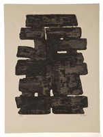 "Pierre Soulages (French, b. 1919) abstract etching (c. 1960) on paper bearing ""BFK RIVES"" watermark, full margins, pencil signed and numbered ""53/100"" in lower margin, 29 ¾"" x 22""."