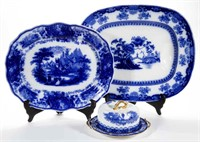 Large selection of English Staffordshire Flow Blue, including many rare serving pieces