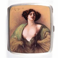One of many fine silver and enamel erotic cigarette cases and other objects de vertu